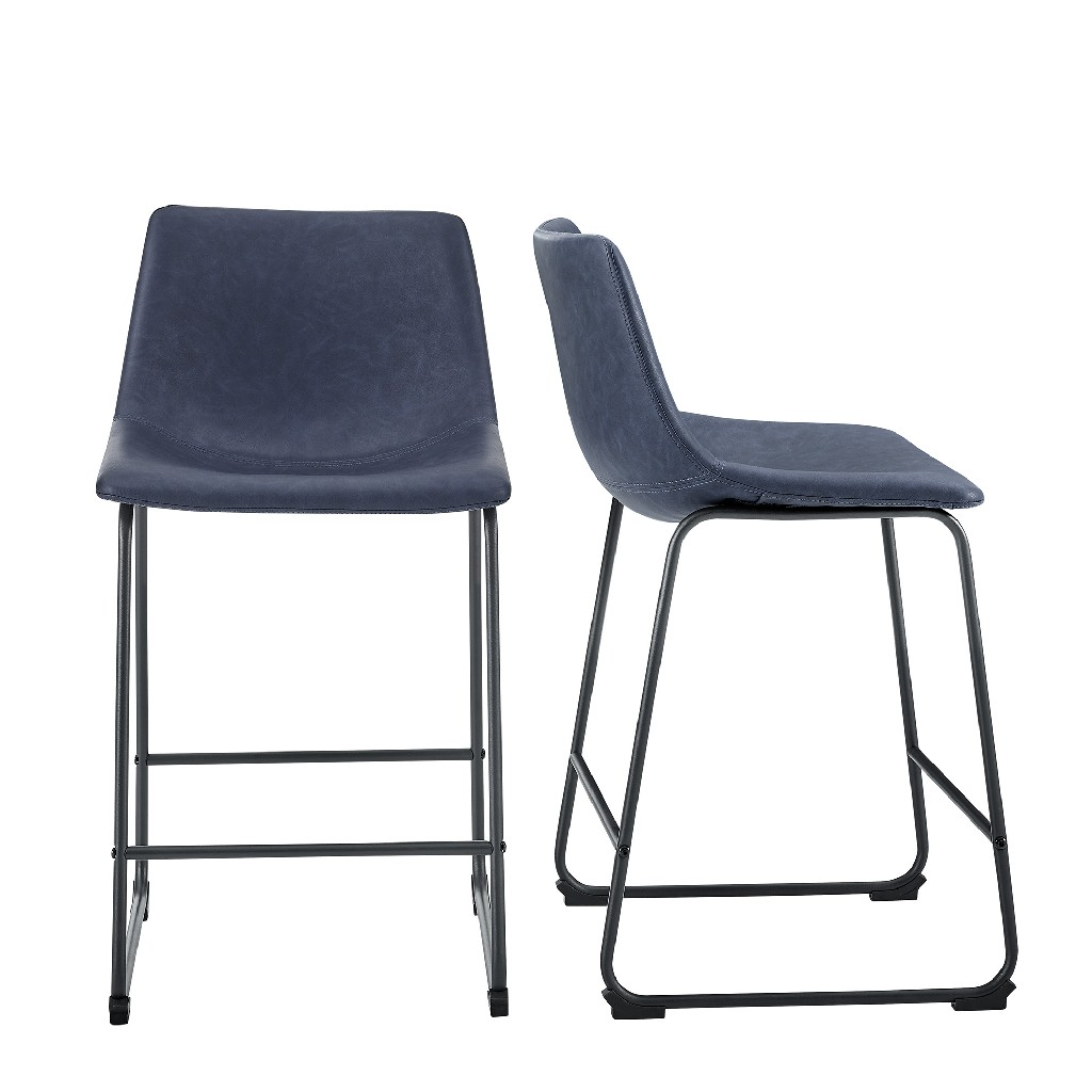 """26"""" Faux Leather Counter Stool in Navy Blue (Set of 2) - Walker Edison CHL26BU"""