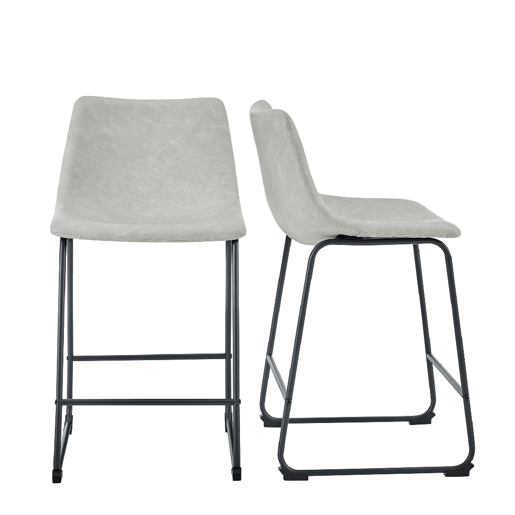 """26"""" Faux Leather Counter Stool in Grey (Set of 2) - Walker Edison CHL26GY"""