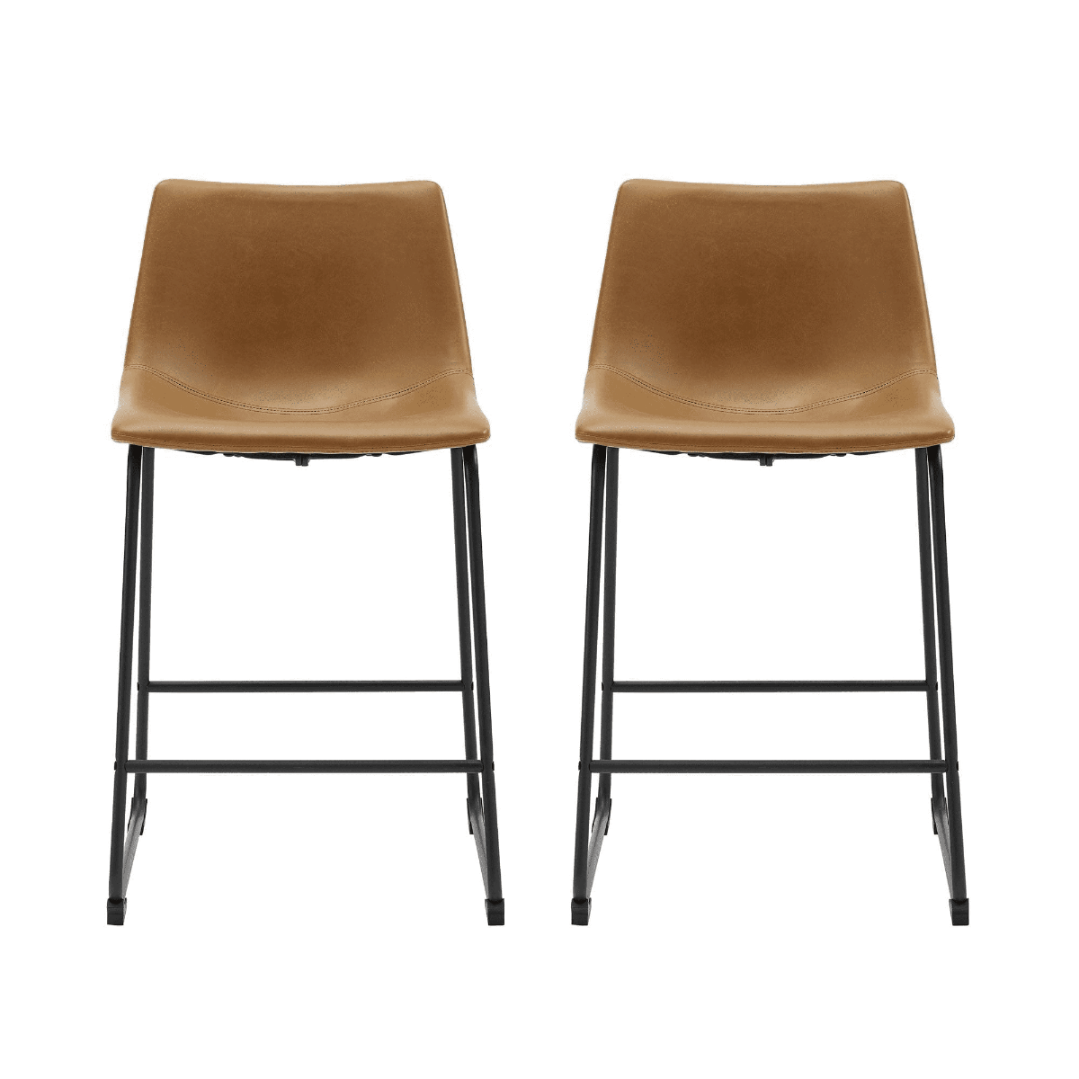 """26"""" Industrial Faux Leather Counter Stool in Whiskey Brown (Set of 2) - Walker Edison CHL26WB"""