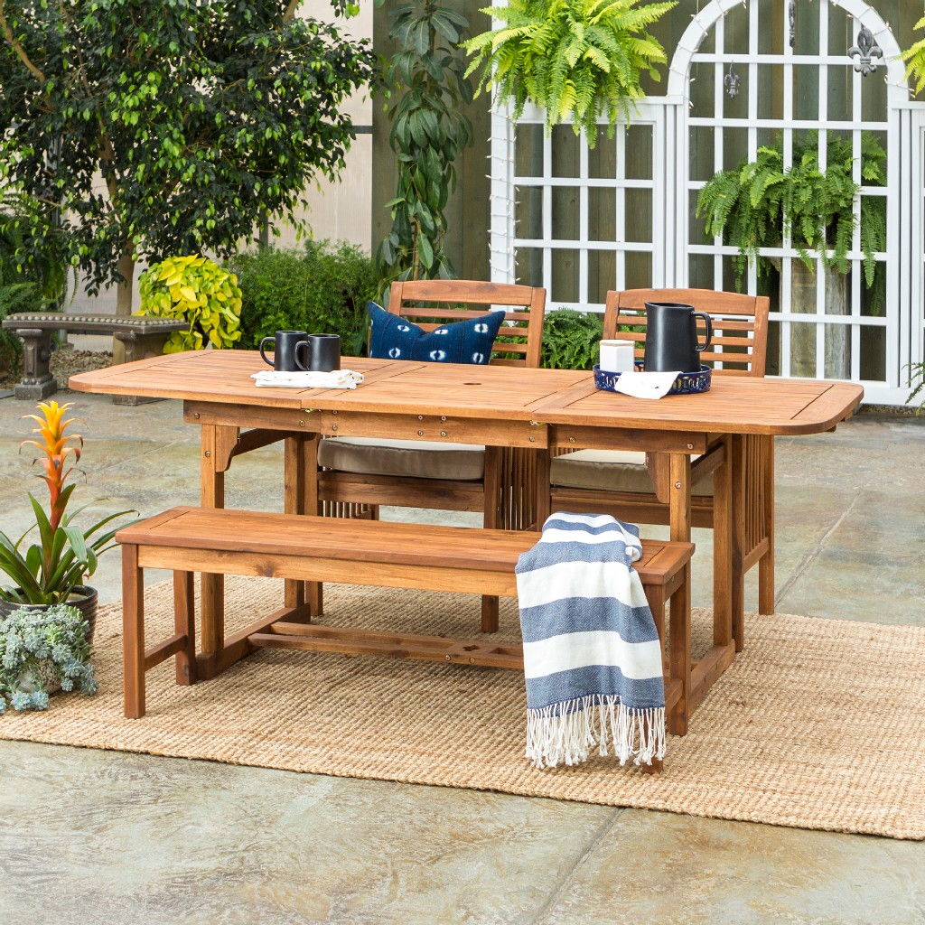 Walker Edison Patio Dining Table Set