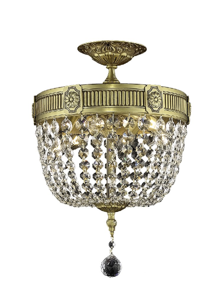 Elegant Lighting Light French Gold Flush Mount Clear Elegant Cut Crystal