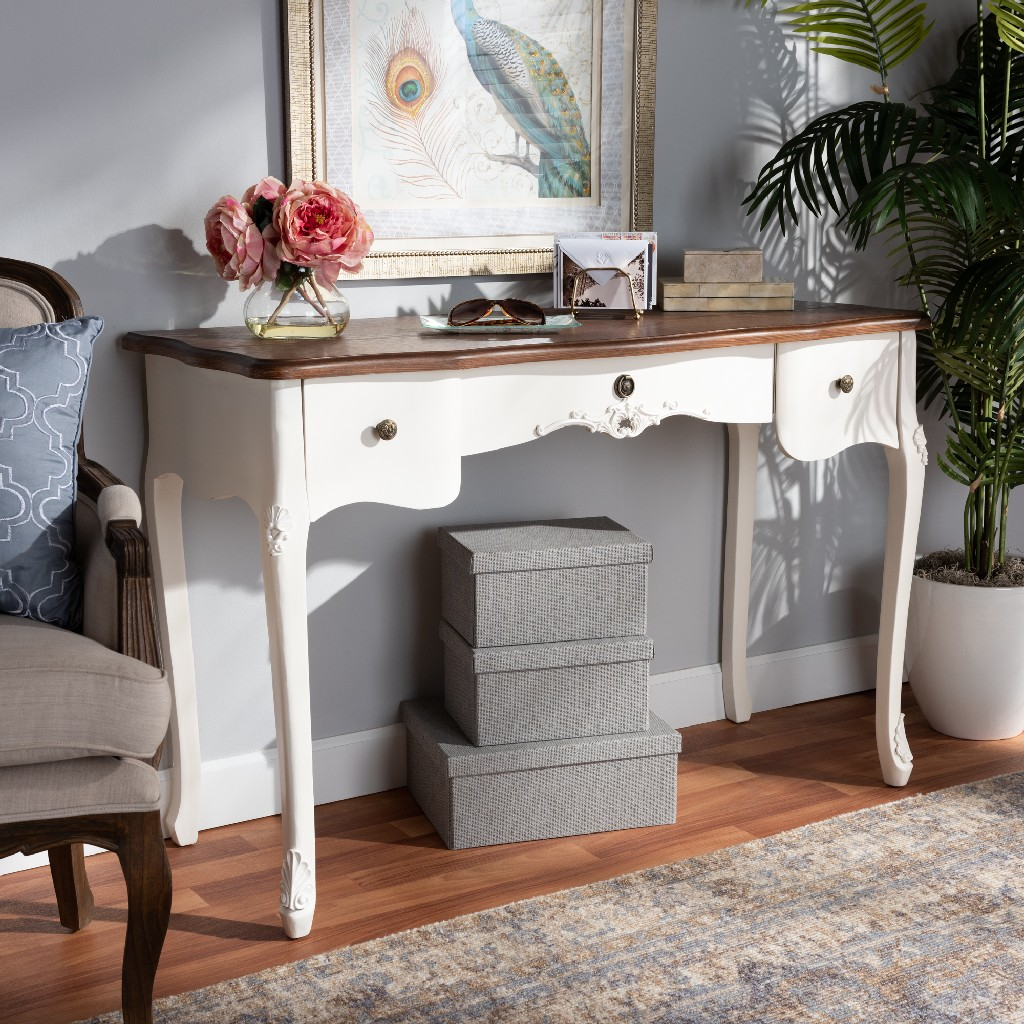 Traditional | Wholesale | 3-Drawer | Country | Classic | French | Finish | Large | Brown | Table | White | Wood