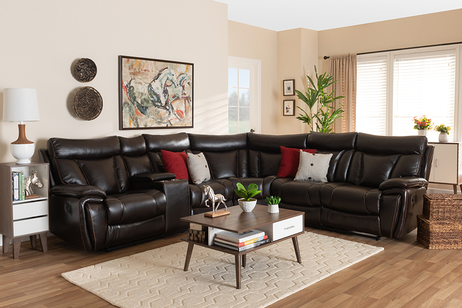 Wholesale Interiors Baxton Studio Lewis Modern Dark Brown Faux Leather 6-PC Reclining Sectional Sofa - 5025B-Brown-SF