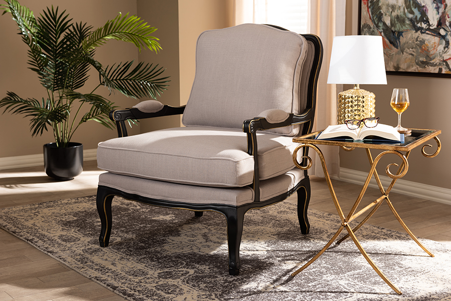 Wholesale Interiors Antoinette Traditional Beige Fabric Upholstered Black