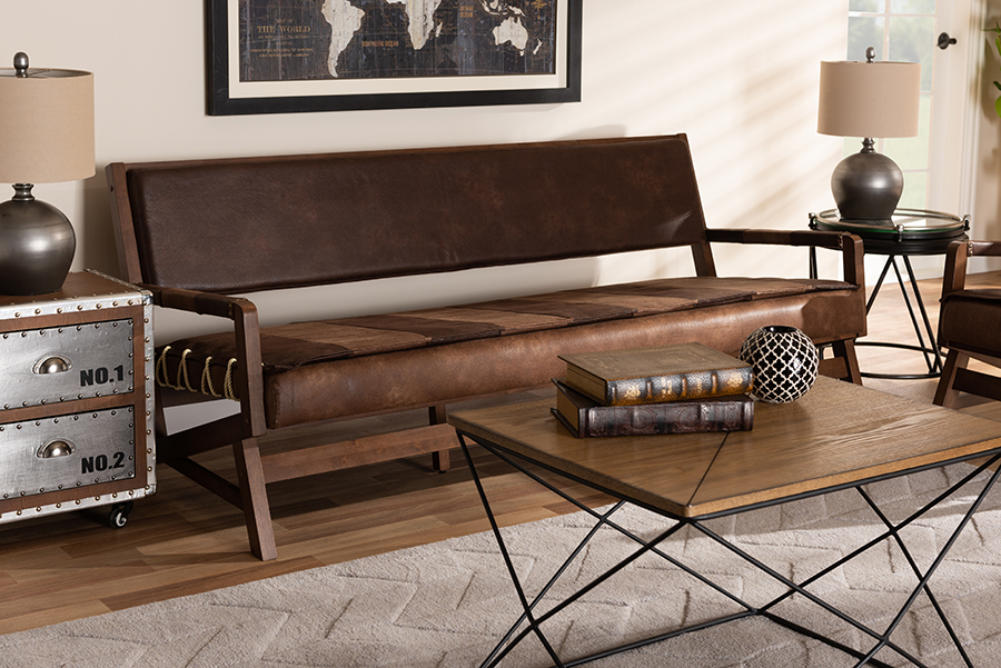 Wholesale Interiors Rovelyn Rustic Brown Faux Leather Upholstered Walnuted Wood Sofa