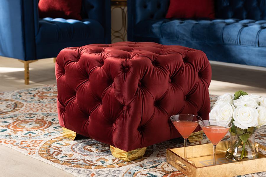 Upholster | Burgundy | Tufted | Velvet | Fabric | Button | Finish | Gold
