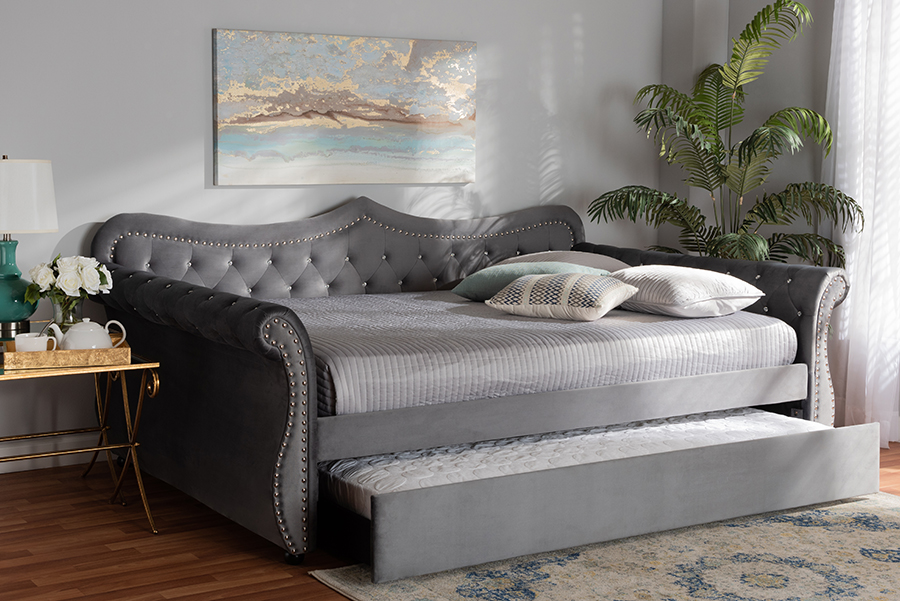 Baxton Studio Abbie Traditional and Transitional Grey Velvet Fabric Upholstered and Crystal Tufted Full Size Daybed with Trundle - Wholesale Interiors Abbie-Grey Velvet-Daybed-F/T