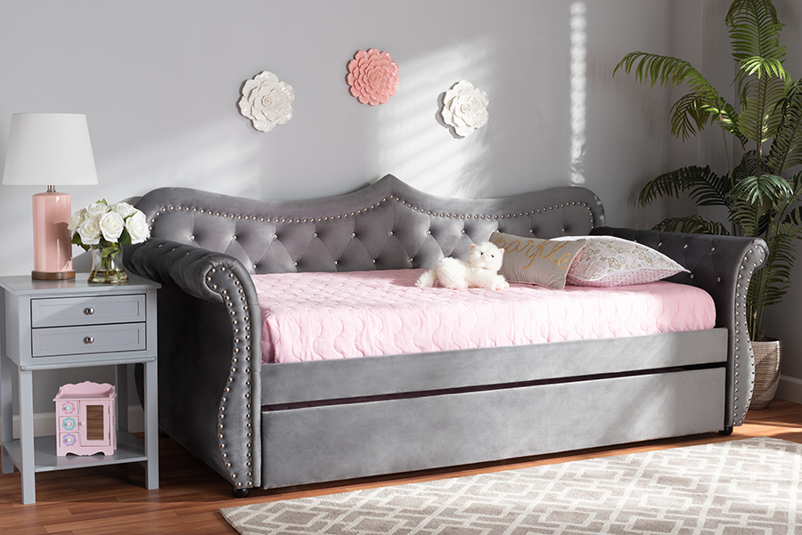 Baxton Studio Abbie Traditional and Transitional Grey Velvet Fabric Upholstered and Crystal Tufted Twin Size Daybed with Trundle - Wholesale Interiors Abbie-Grey Velvet-Daybed-T/T