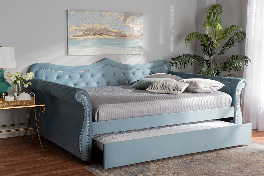 Baxton Studio Abbie Traditional and Transitional Light Blue Velvet Fabric Upholstered and Crystal Tufted Queen Size Daybed with Trundle - Wholesale Interiors Abbie-Light Blue Velvet-Daybed-Q/T