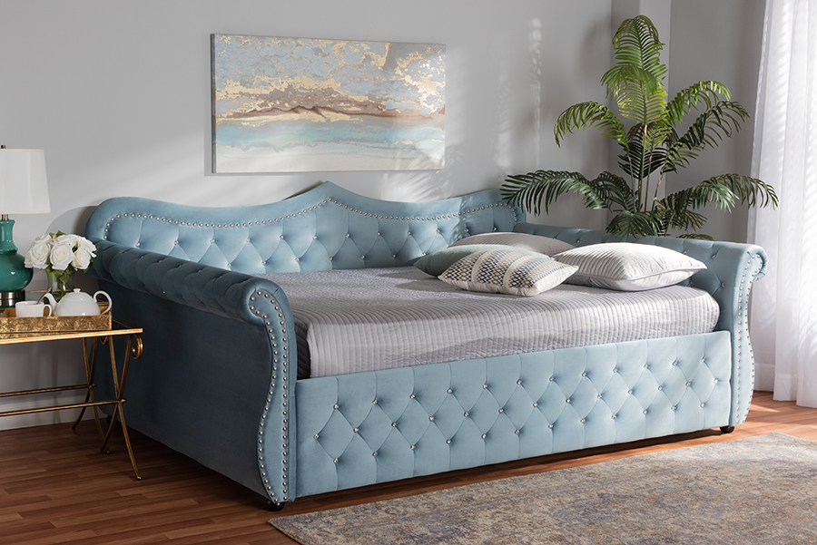 Baxton Studio Abbie Traditional and Transitional Light Blue Velvet Fabric Upholstered and Crystal Tufted Queen Size Daybed - Wholesale Interiors Abbie-Light Blue Velvet-Daybed-Queen