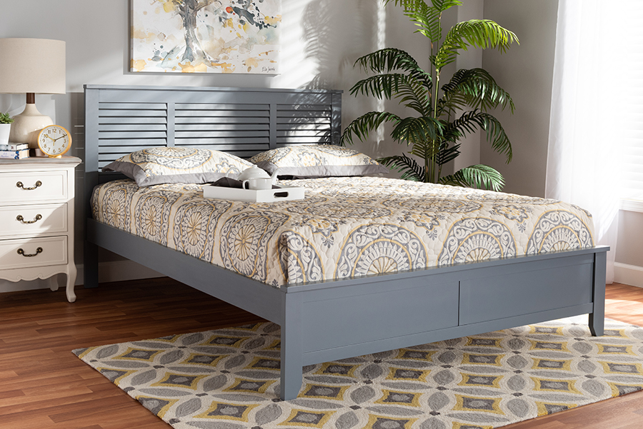 Baxton Studio Adela Modern & Contemporary Grey Finished Wood Queen Size Platform Bed - Adela-Gray-Queen