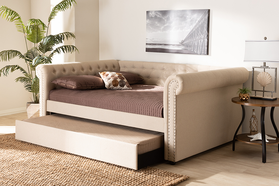 Wholesale Interiors Beige Fabric Upholstered Daybed Trundle