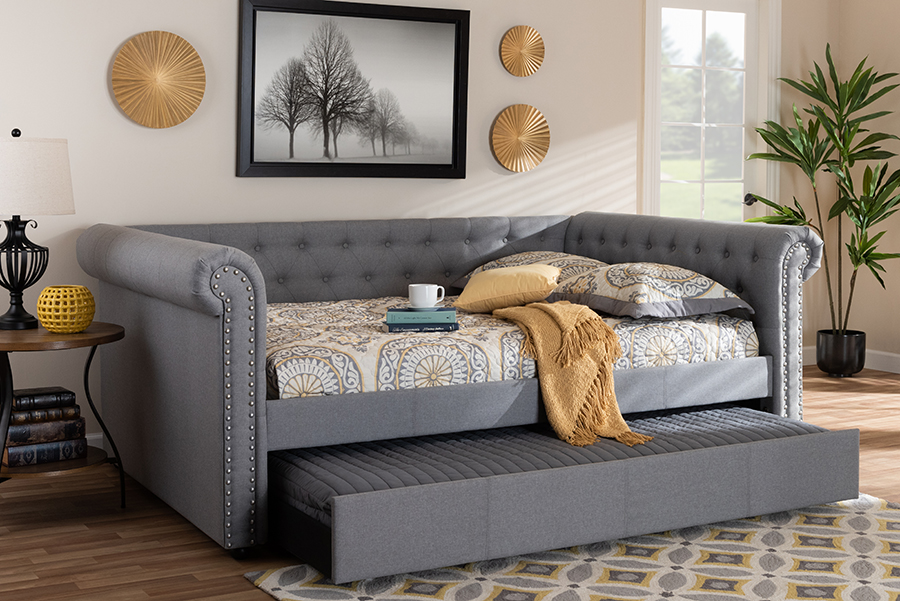 Wholesale Interiors Fabric Upholstered Queen Daybed Trundle