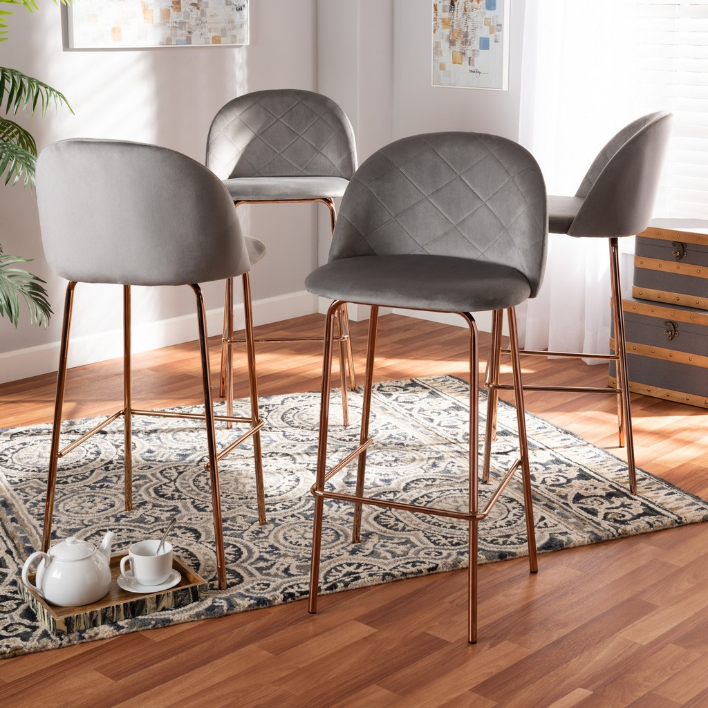 Baxton Studio Addie Luxe and Glam Grey Velvet Fabric Upholstered and Rose Gold Finished 4-Piece Bar Stool Set - Wholesale Interiors BA-6-Grey/Rose Gold-BS-4PC Set