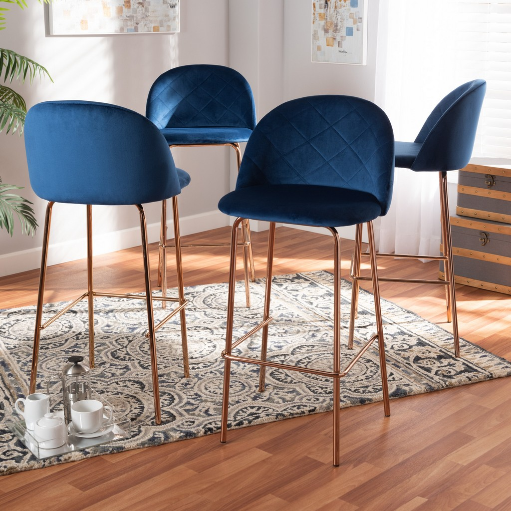 Baxton Studio Addie Luxe and Glam Navy Blue Velvet Fabric Upholstered and Rose Gold Finished 4-Piece Bar Stool Set - Wholesale Interiors BA-6-Navy Blue/Rose Gold-BS-4PC Set