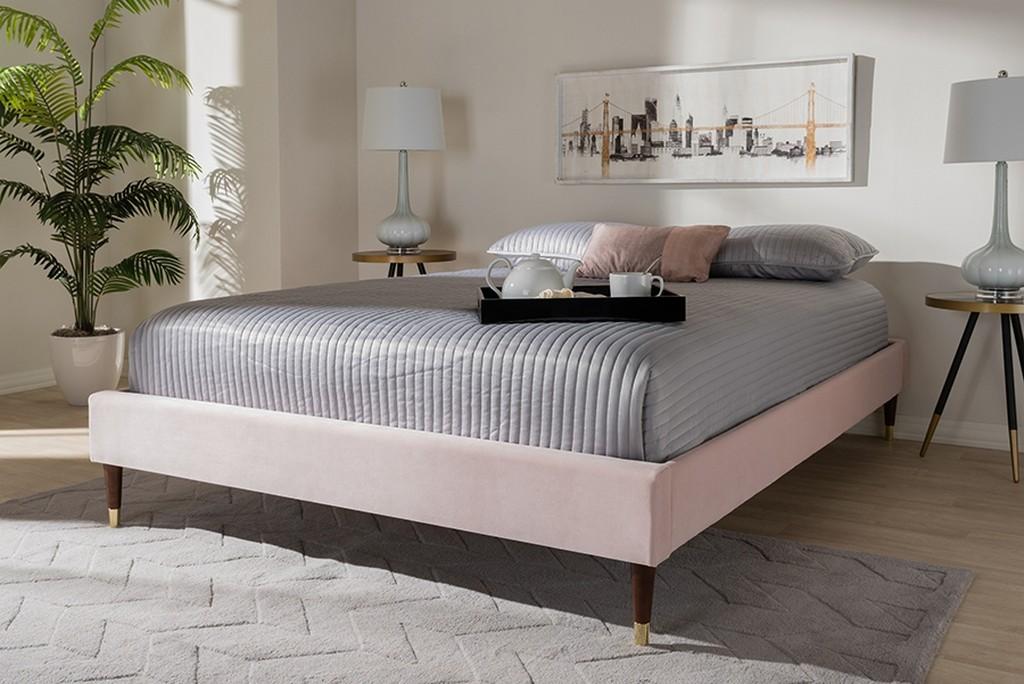 Upholster | Platform | Velvet | Fabric | Frame | Light | King | Wood | Pink | Size | Leg | Bed
