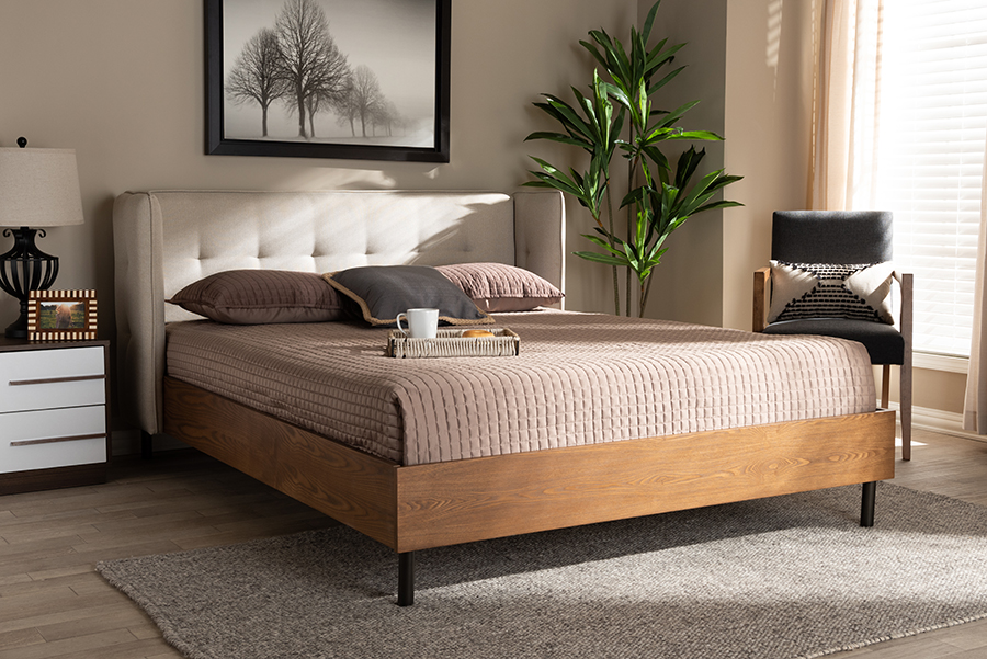 Wholesale Interiors Upholstered Walnut Platform Bed King