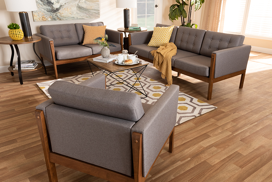 Lenne Fabric Upholstered Walnut Living Room Set