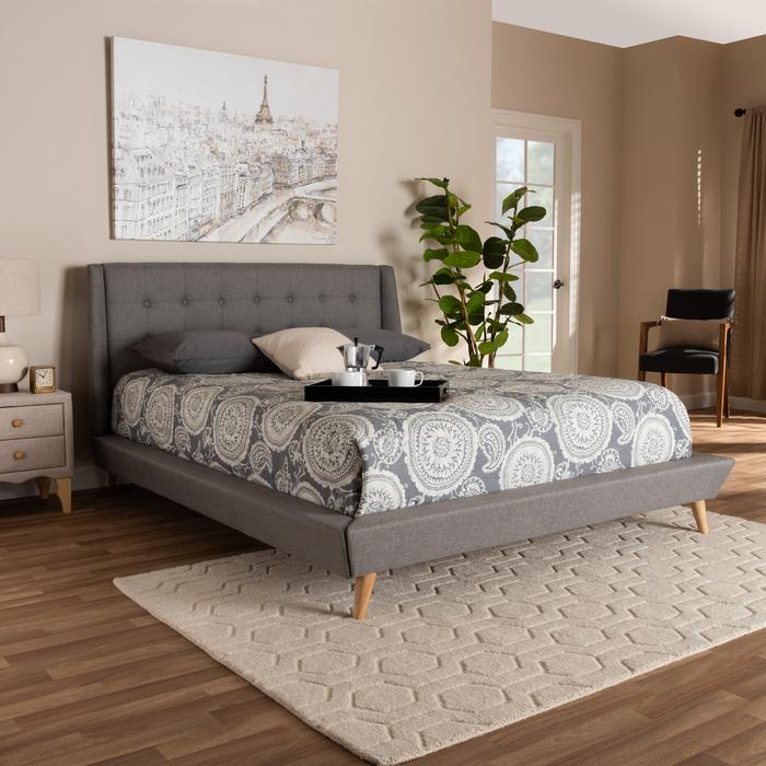 Upholster | Platform | Fabric | Modern | King | Grey | Size | Bed