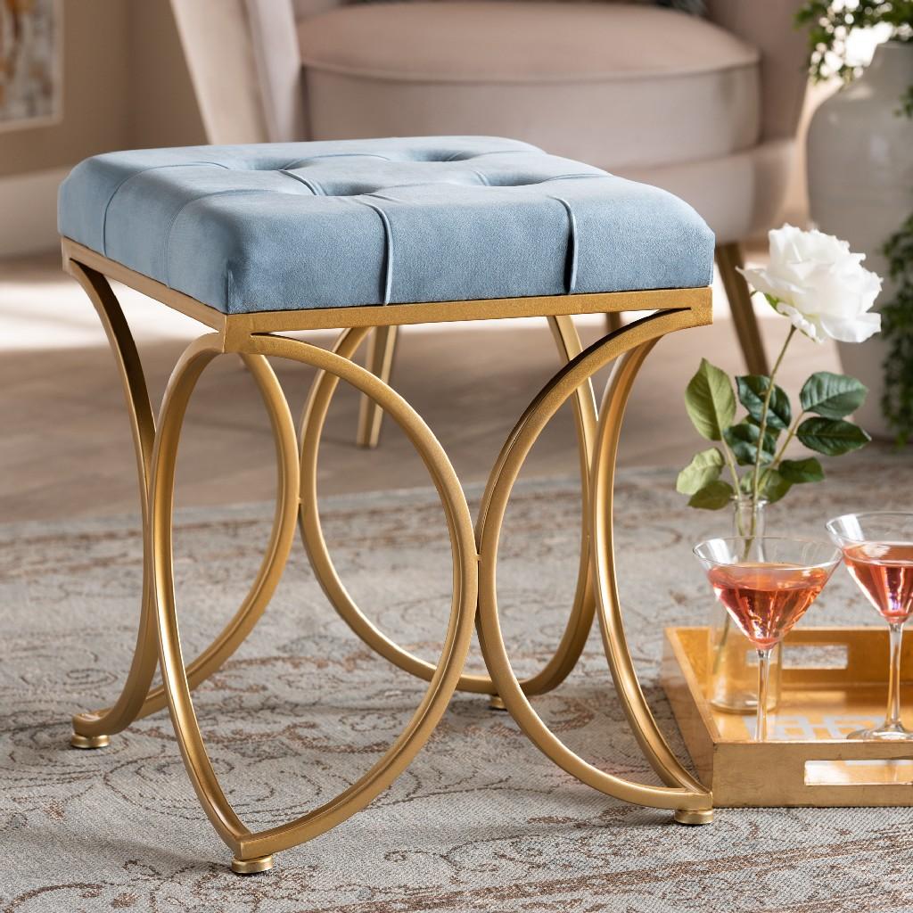 Wholesale | Upholster | Ottoman | Velvet | Fabric | Finish | Metal | Light | Gold | Blue | Art