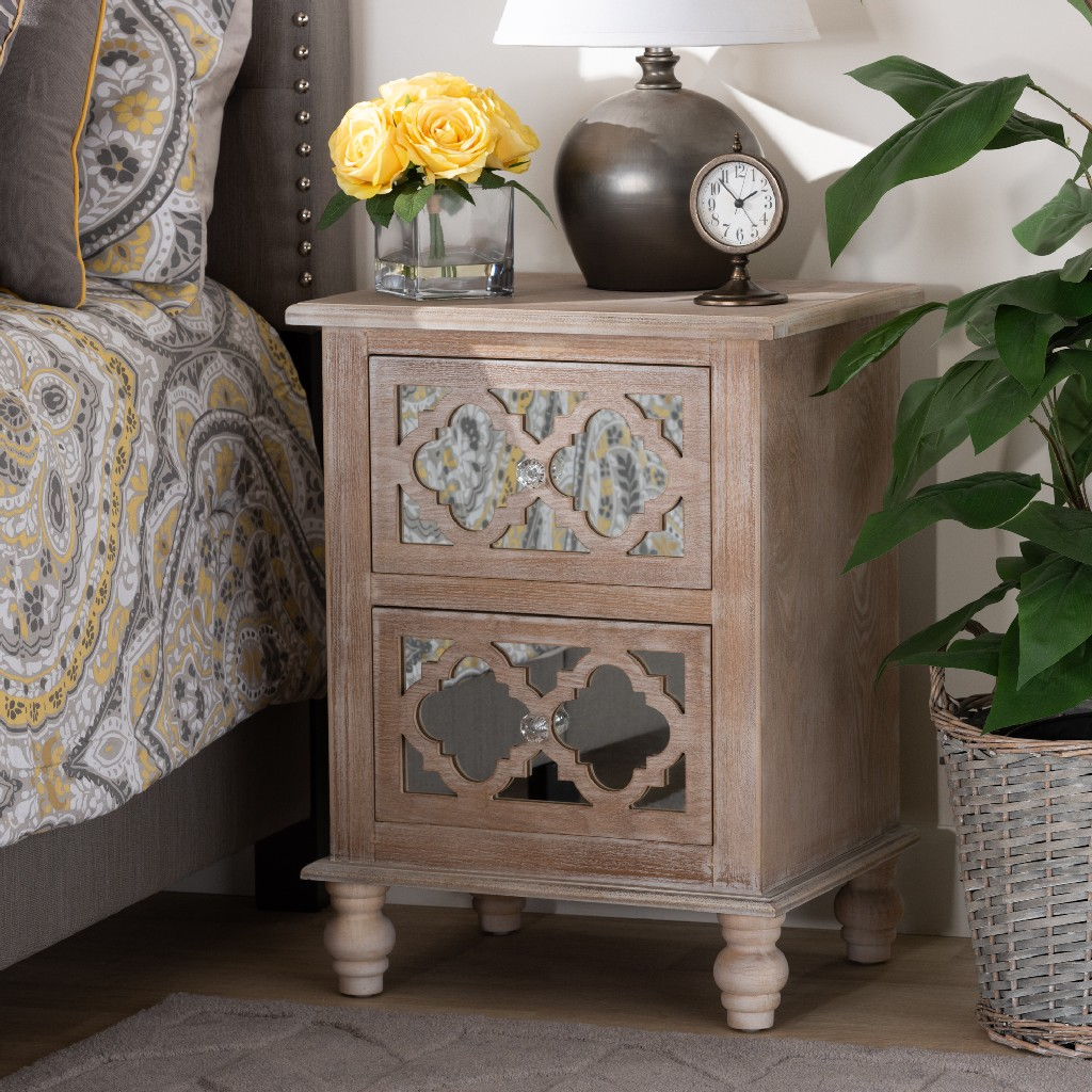 Nightstand | Wholesale | 2-Drawer | Country | French | Mirror | Wood
