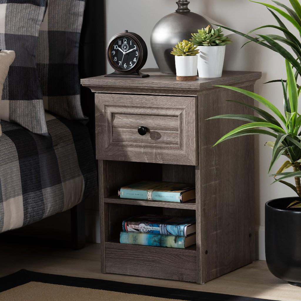 Baxton Studio Dara Traditional Transitional Grey Brown Oak Finished 1-drawer Wood Nightstand - Wholesale Interiors Mh5079-toro Oak-ns