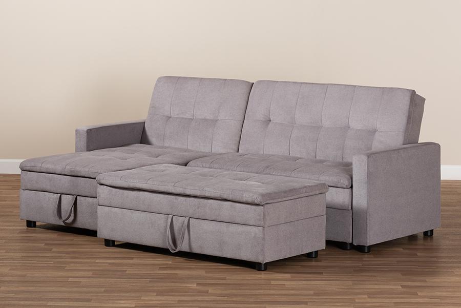 Wholesale Interiors Noa Modern Light Grey Fabric Left Facing Storage Sectional