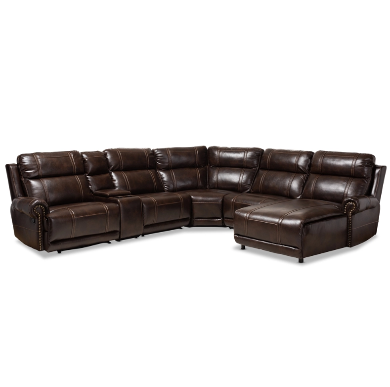 Dacio Brown Leather Upholstered Sectional Recliner