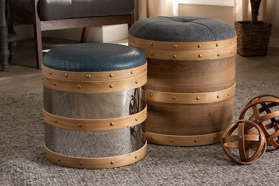 Baxton Studio Caleb Modern And Contemporary Glam Grey Fabric And Blue Alligator Faux Leather Upholstered 2-piece Wood And Metal Storage Ottoman Set - Wholesale Interiors R87r504-2pc Otto Set