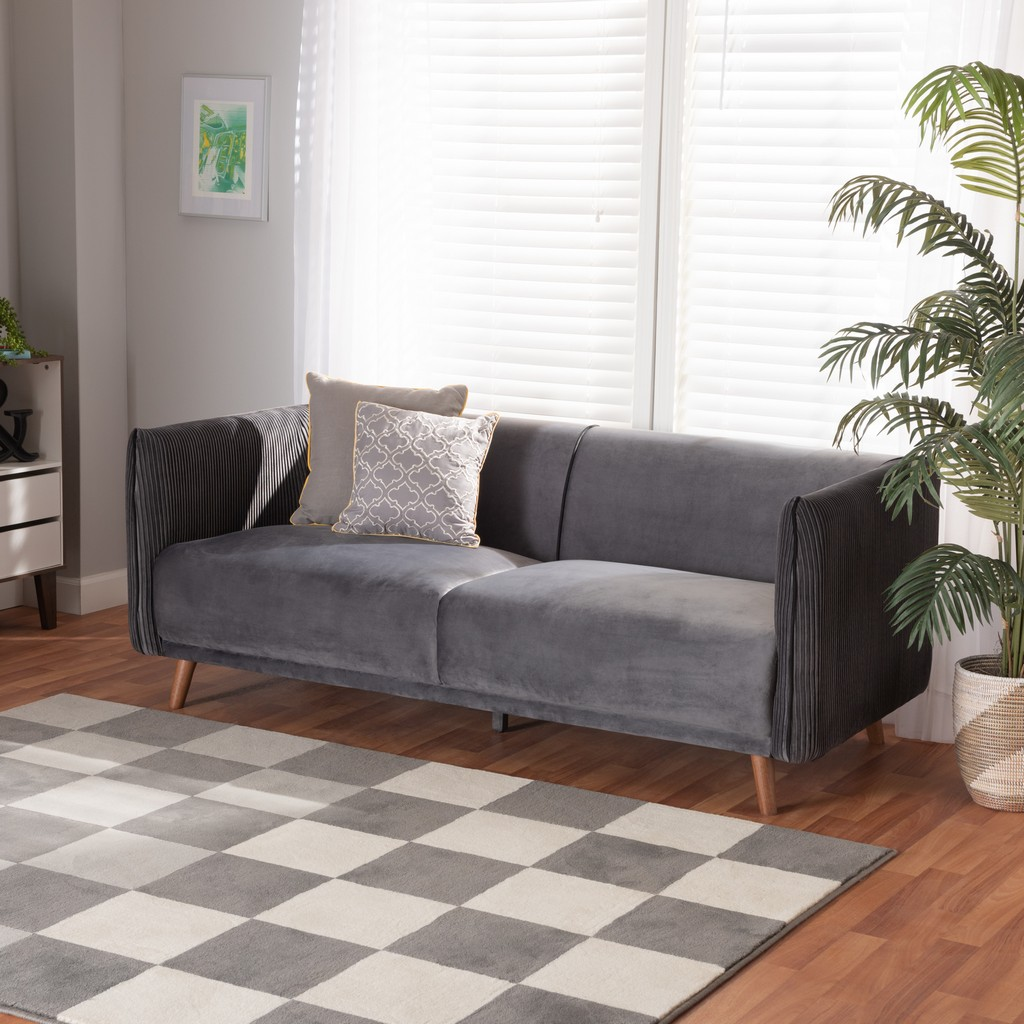 Wholesale Interiors Beacher Modern Grey Velvet Fabric Walnut Browned Wood Sofa