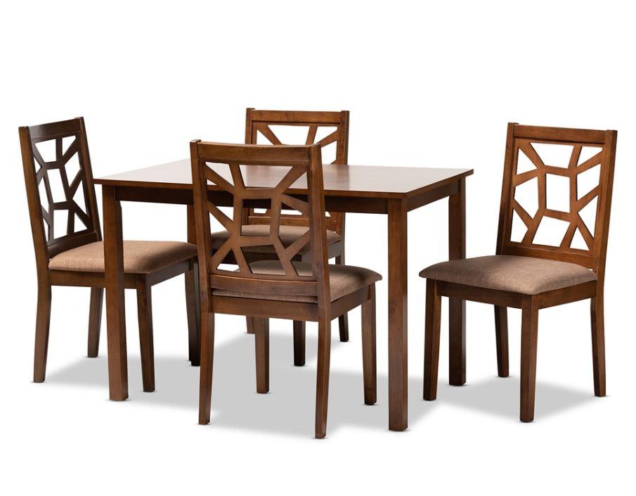 Baxton Studio Abilene Mid-Century Light Brown Fabric Upholstered & Walnut Brown Finished 5-PC Wood Dining Set - RH3010C-Walnut/Light Brown Dining Set