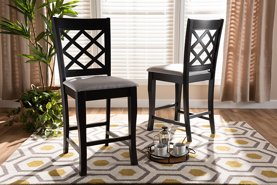 Baxton Studio Alora Modern and Contemporary Grey Fabric Upholstered Espresso Brown Finished 2-Piece Wood Counter Stool Set - RH320P-Grey/Dark Brown-PS
