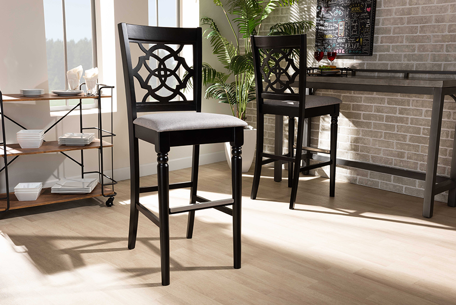 Baxton Studio Alexandra Modern and Contemporary Grey Fabric Upholstered and Espresso Brown Finished Wood 2-Piece Bar Stool Set - Wholesale Interiors RH322B-Grey/Dark Brown-BS