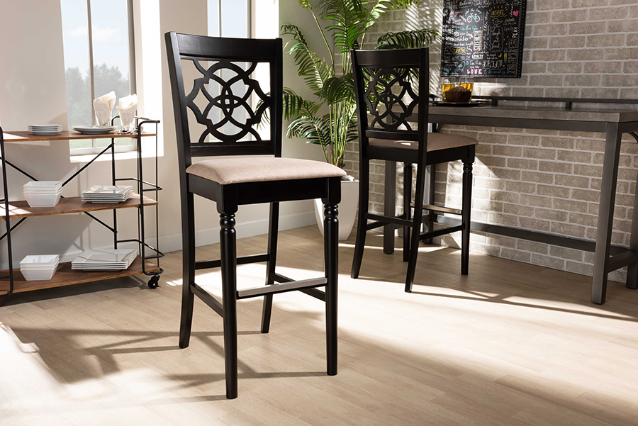 Baxton Studio Alexandra Modern and Contemporary Sand Fabric Upholstered and Espresso Brown Finished Wood 2-Piece Bar Stool Set - Wholesale Interiors RH322B-Sand/Dark Brown-BS