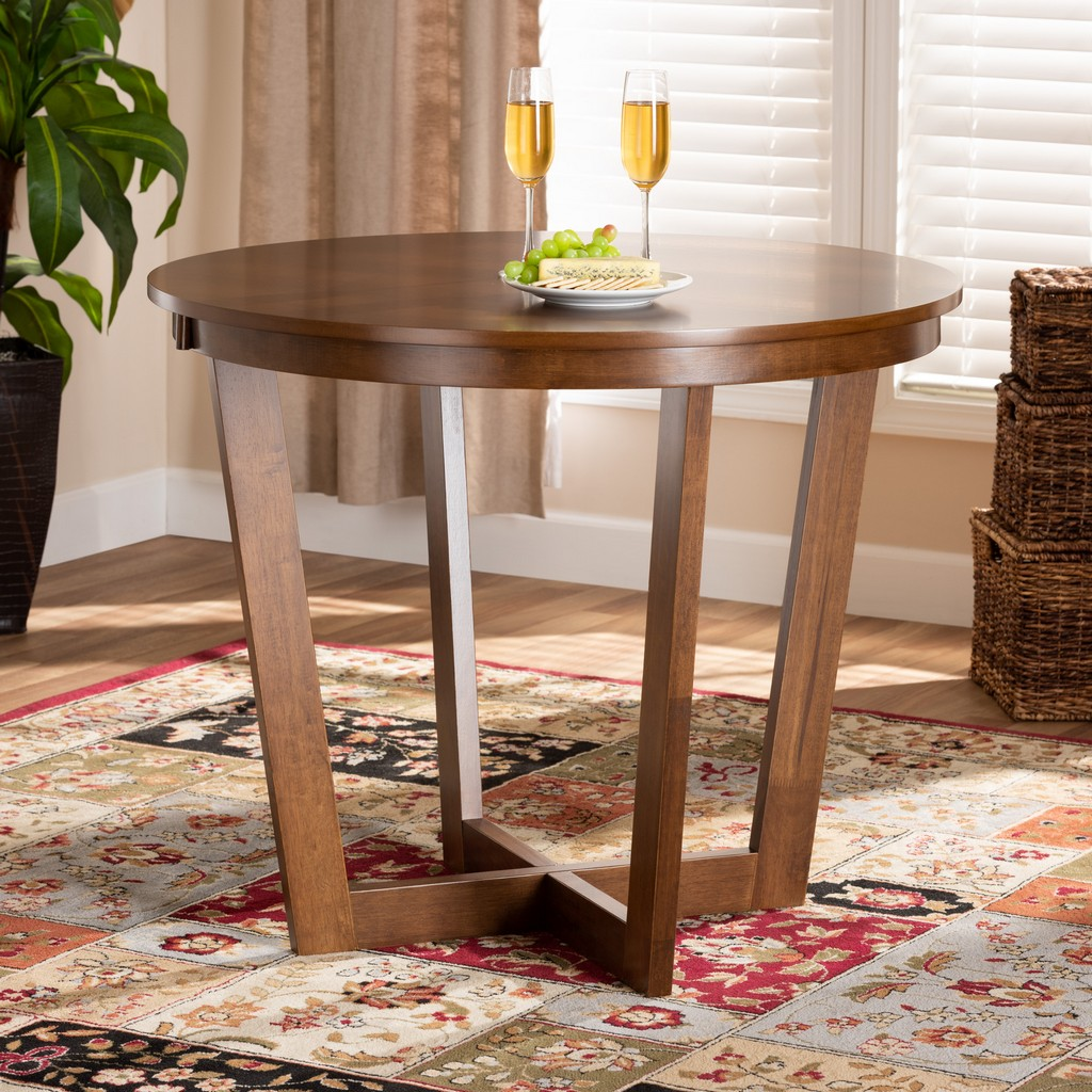 Baxton Studio Alayna Modern and Contemporary Walnut Brown Finished 35-Inch-Wide Round Wood Dining Table - Wholesale Interiors RH7048T-Walnut-35-IN-DT