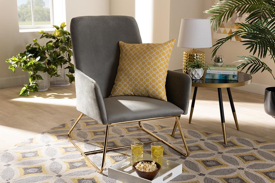 Wholesale | Upholster | Armchair | Velvet | Fabric | Finish | Grey | Gold