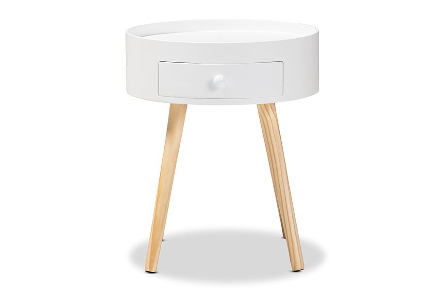 Nightstand | 1-Drawer | Modern | White | Wood