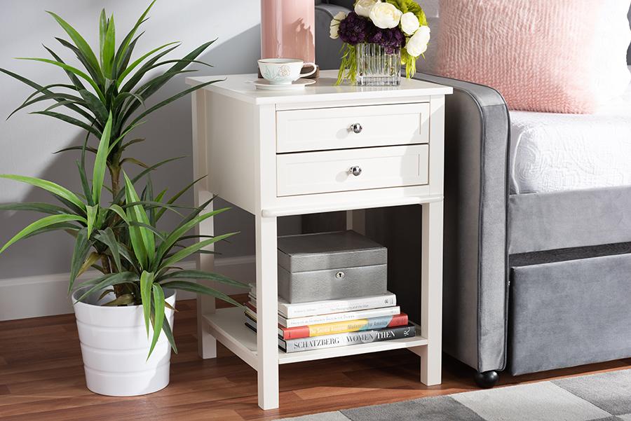 Nightstand | Wholesale | 2-Drawer | Modern | Finish | White | Wood