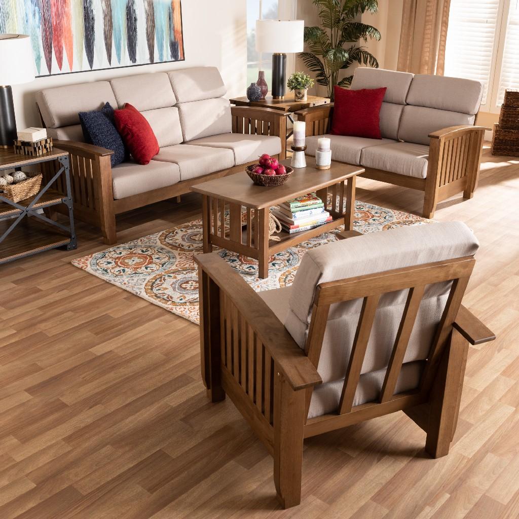 Wholesale Interiors Upholstered Walnut Living Room Set