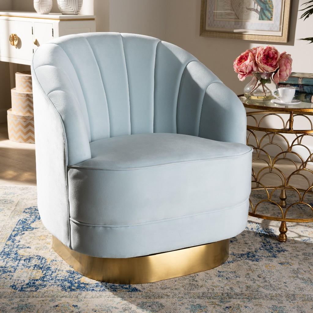 Wholesale | Upholster | Swivel | Accent | Velvet | Fabric | Finish | Brush | Chair | Light | Gold | Blue