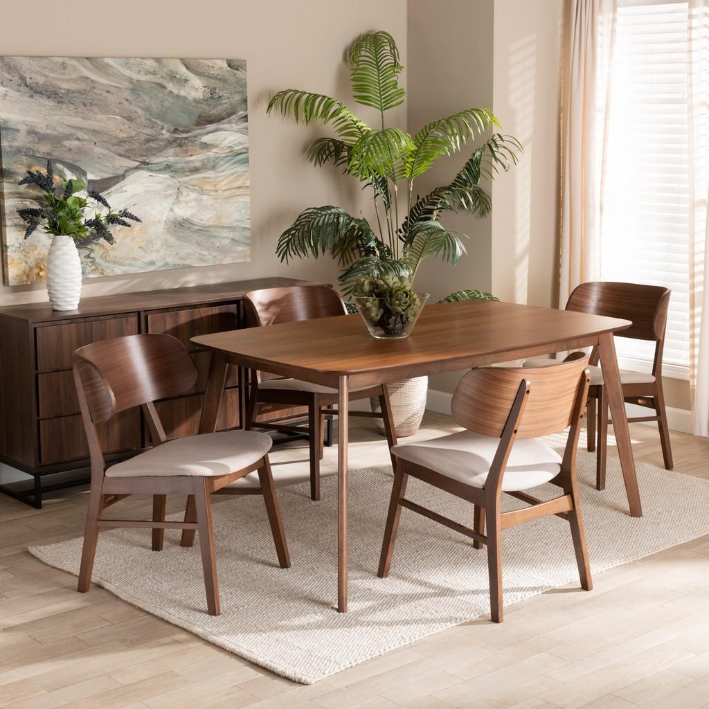 Wholesale Interiors Alston Mid Century Modern Beige Fabric Upholstered