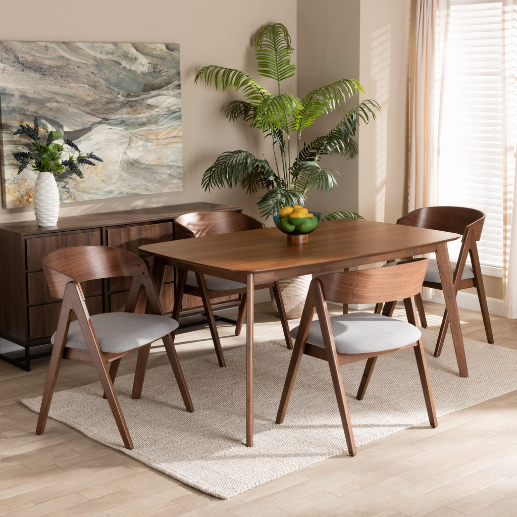 Wholesale Interiors Danton Mid Century Modern Grey Fabric Upholstered Walnut