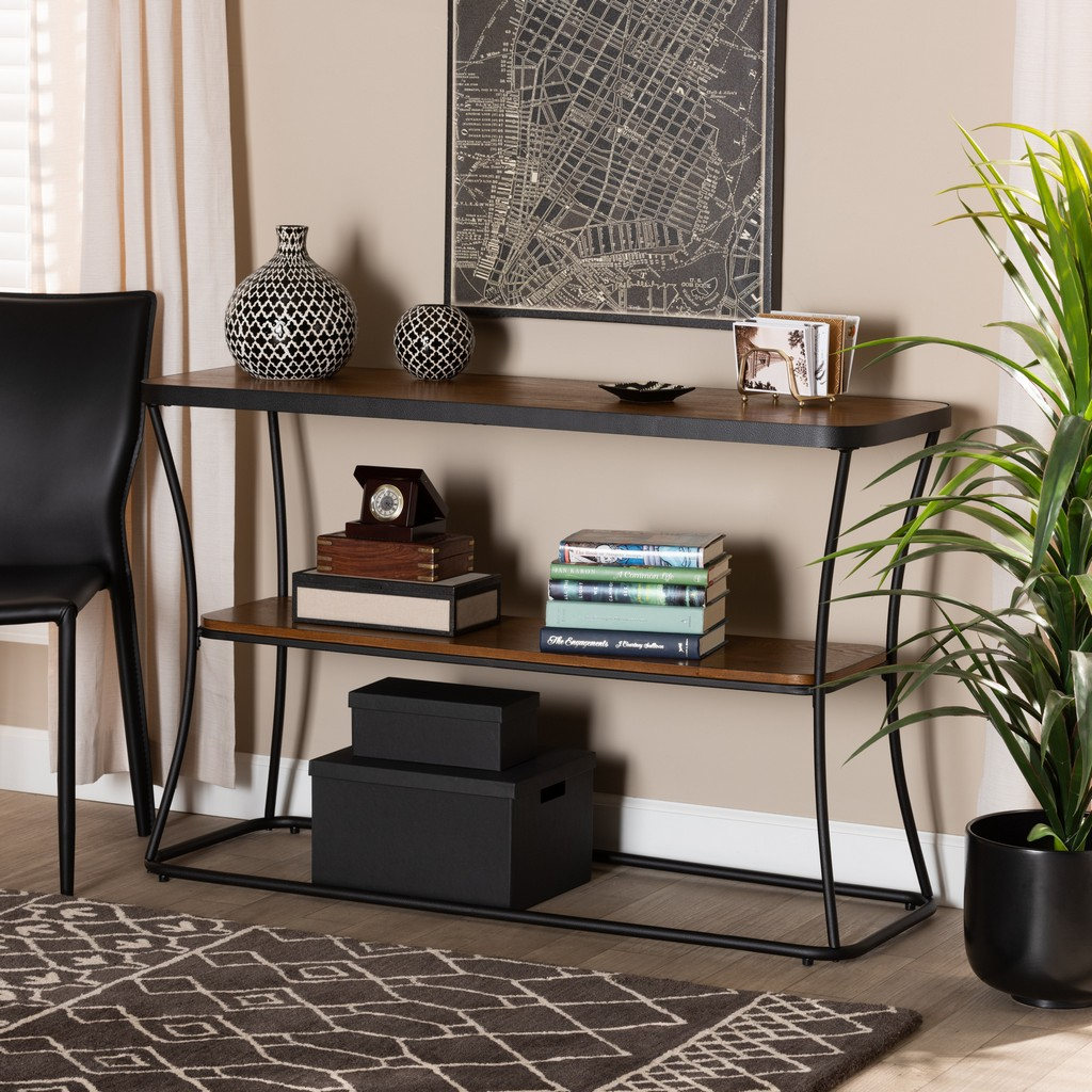 Baxton Studio Akram Rustic Industrial Walnut Brown Finished Wood and Black Finished Metal Console Table - Wholesale Interiors YLX-2780-Console