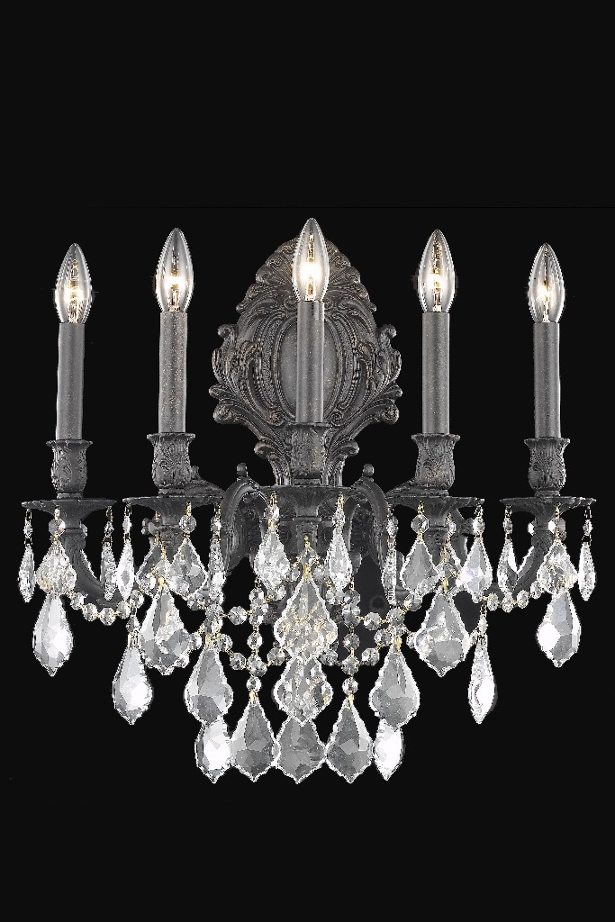 Elegant Lighting Light Dark Bronze Wall Sconce Clear Royal Cut Crystal