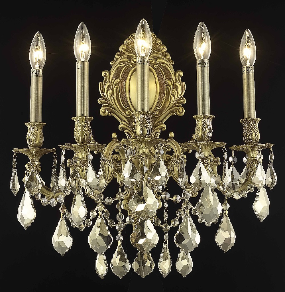 Elegant Lighting Light French Gold Wall Sconce Golden Teak Smoky Elements Crystal