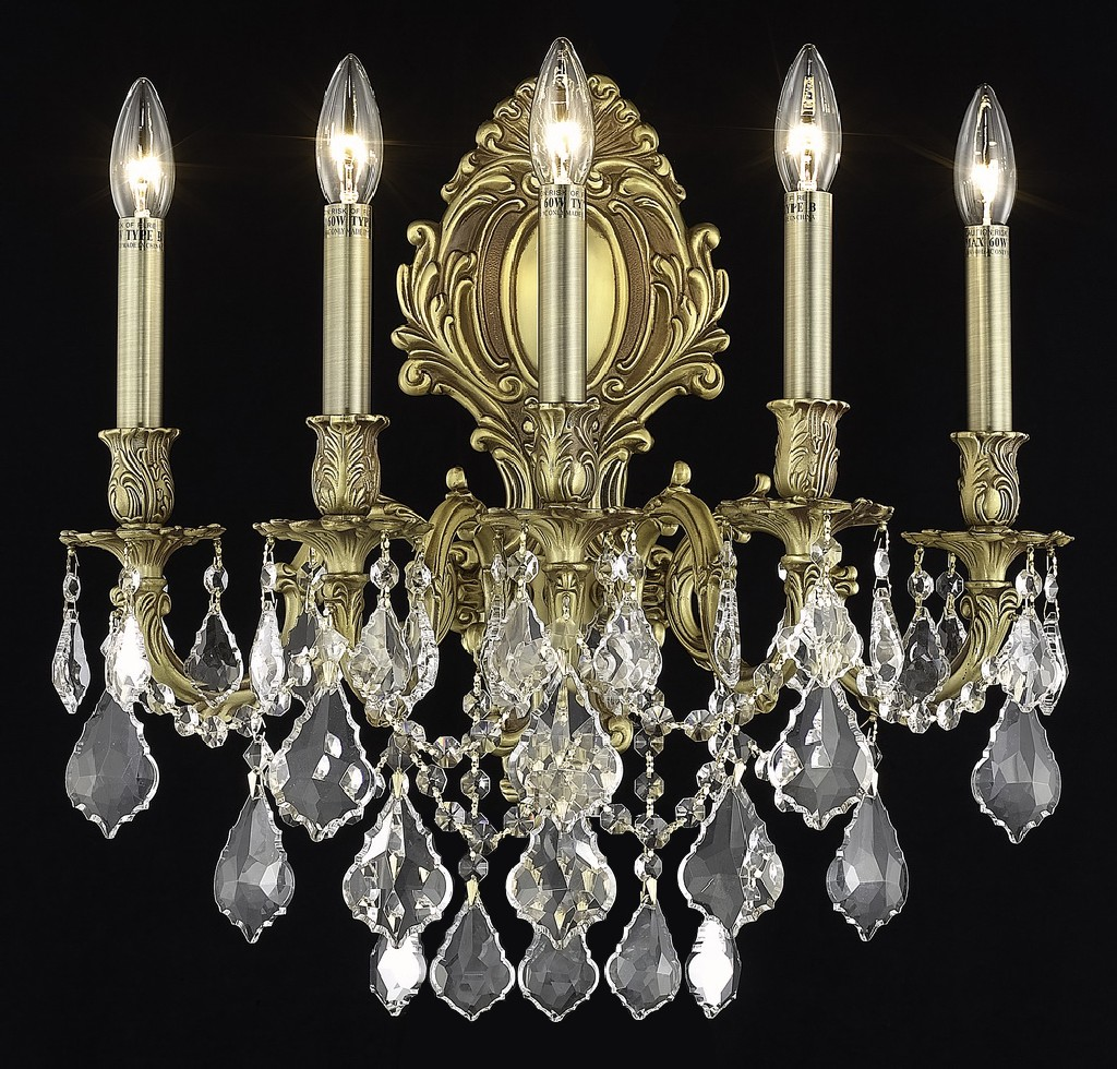 Elegant Lighting Light French Gold Wall Sconce Clear Elements Crystal