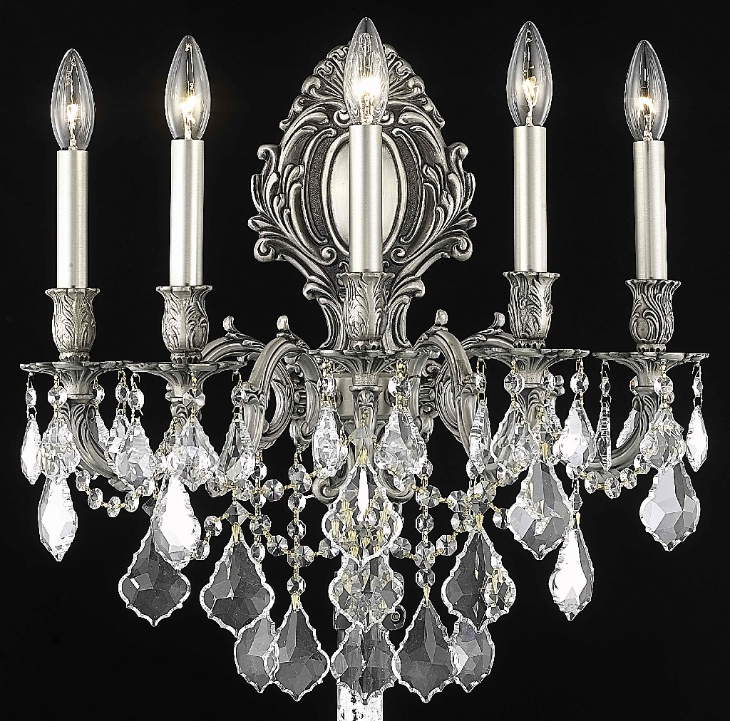 Elegant Lighting Light Wall Sconce Clear Royal Cut Crystal