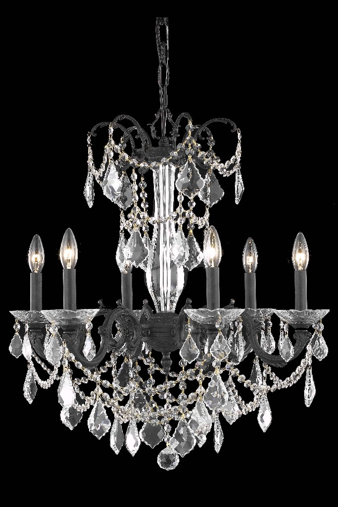 Elegant Lighting Light Dark Bronze Chandelier Clear Elegant Cut Crystal
