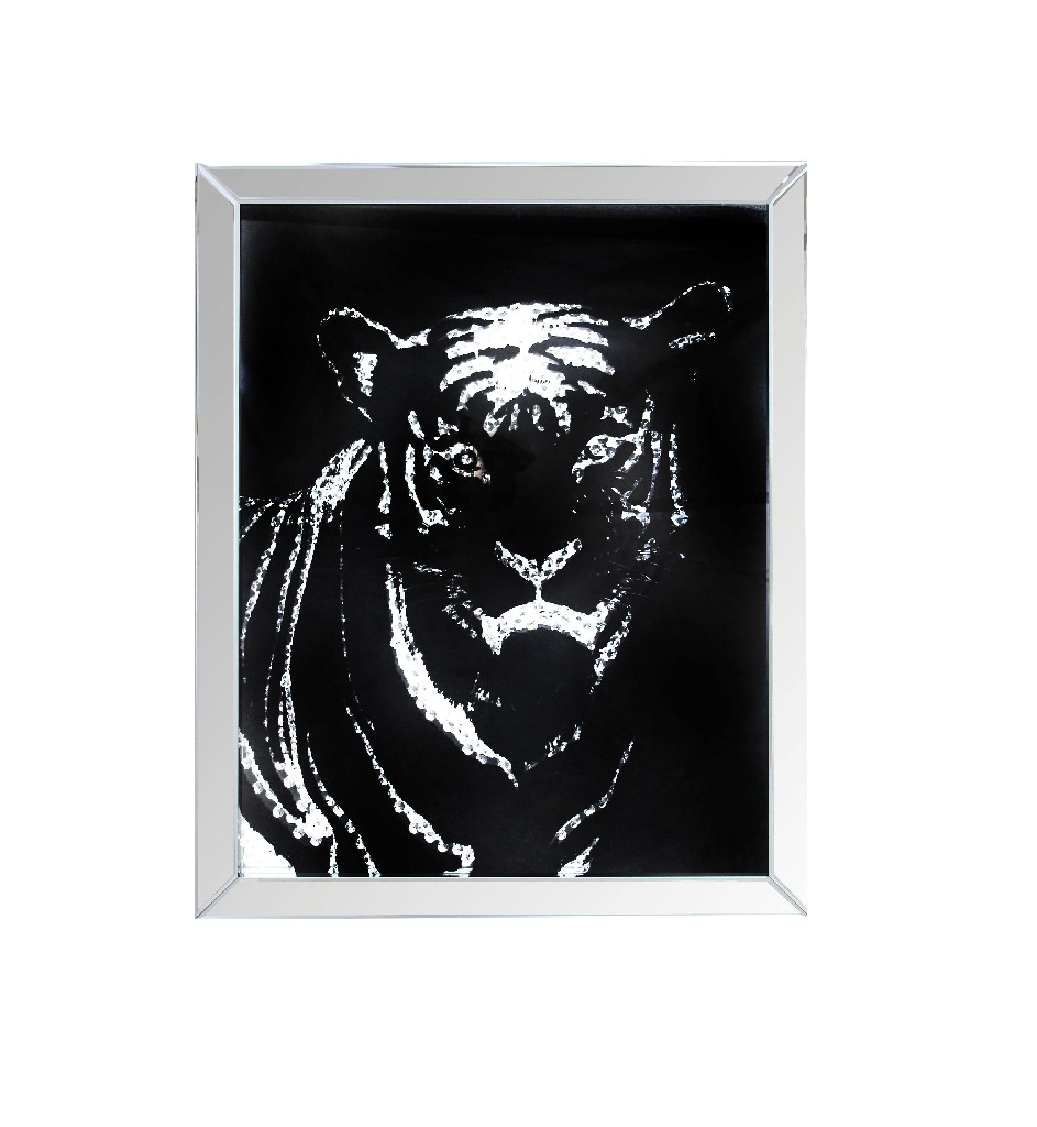 Furniture   Crystal   Mirror   Tiger   Faux   Wall   Art