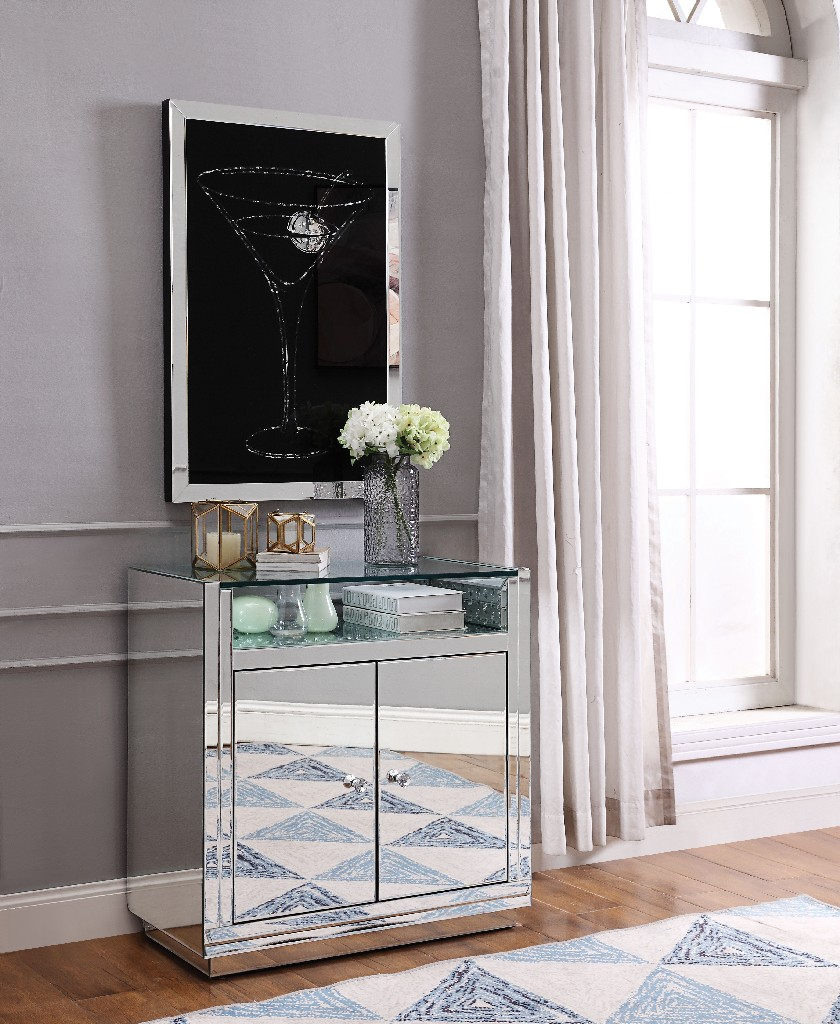 Acme Nysa Console Table Mirrored Faux Crystals